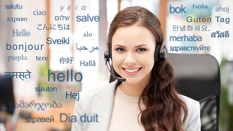 translation, business and technology concept - smiling female tr