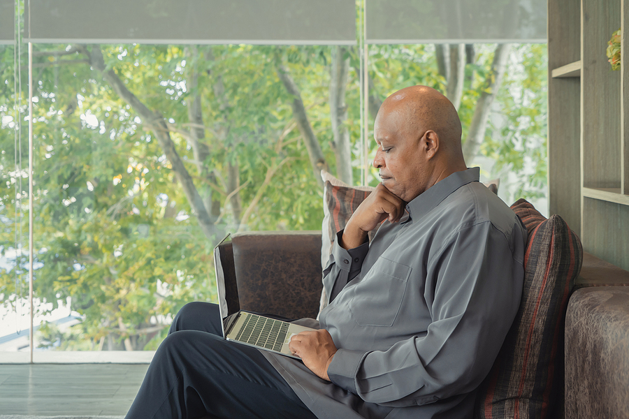 Business Elderly Black American Man, African Person Working From