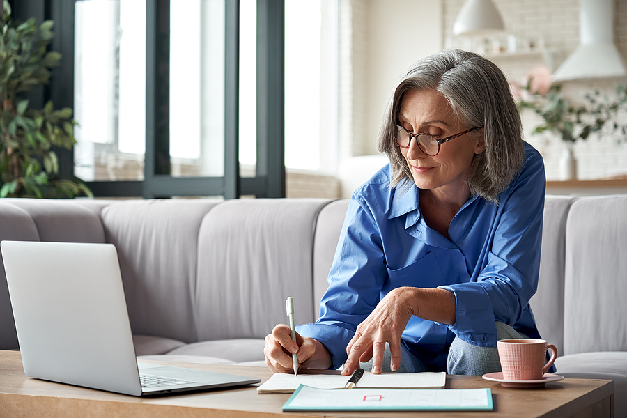 Happy Stylish Mature Old Woman Remote Working From Home Distance